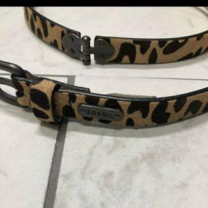 Fossil calf hair cheetah print belt